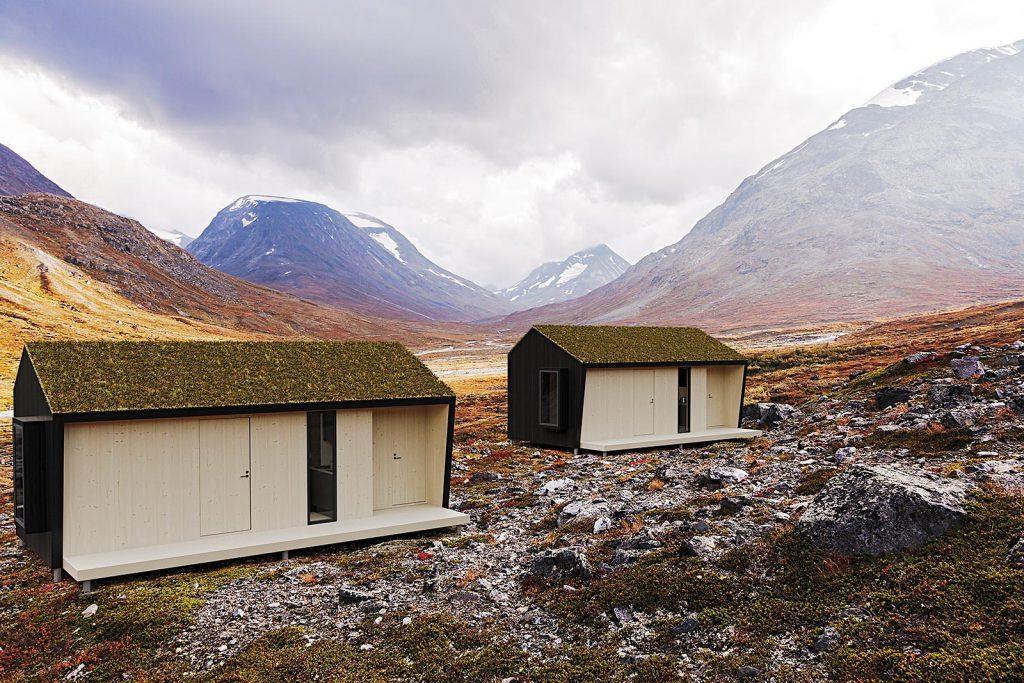 Två Vuolas hus i fjällen.