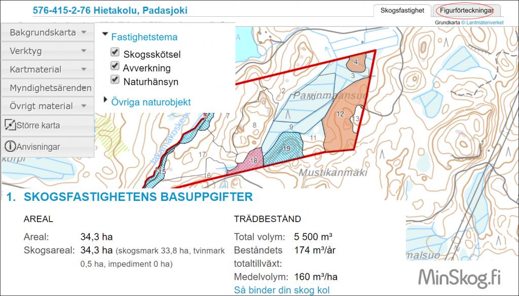 En bild av kartan över skogsfastigheten i MinSkog.fi.